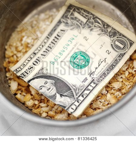 Bread Crumbs And Dollar Bill