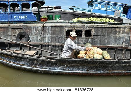Fruit Seller In The Cai Rang Floating Market, Mekong Delta, Vietnam