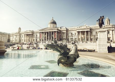 London, fountain on the Trafalgar Square