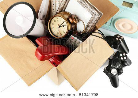 Box of unwanted stuff close up