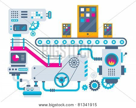 Industrial Illustration Background Of The Factory For Manufacture Phones.