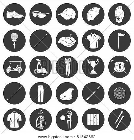 Golf Icons Design Over White Background.