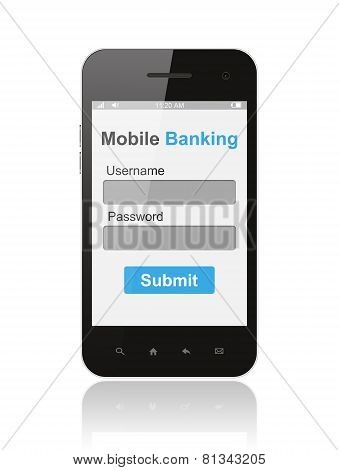 Smart phone with mobile banking login form ui element on its screen