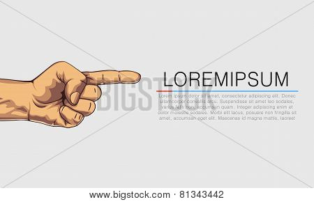 Pointing hand. Banner with textplace