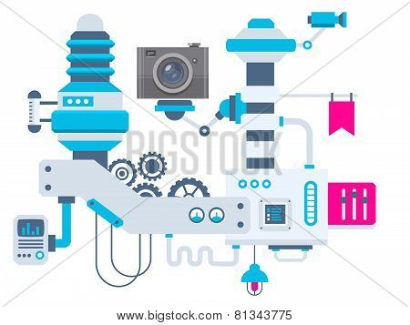Industrial Illustration Background Of The Factory For Measurement Of The Parameters Camera.