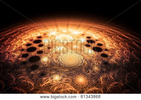 Abstract Geometrical Tribal Golden Fractal Texture. Visualization Of Complex Equations.