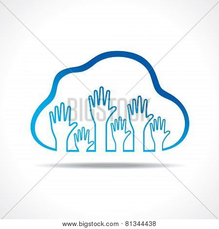 Group of up hands in the cloud stock vector