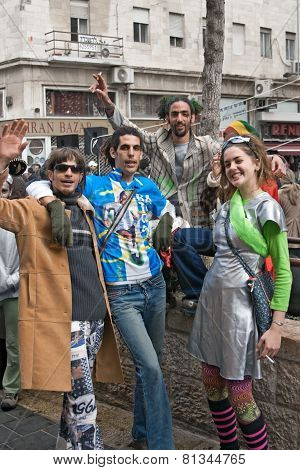 Jerusalem, Israel - March 15, 2006: Purim Carnival. Group Of People Celebrate The Festival.