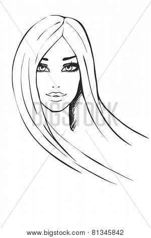 Portrait of fashionable girl. Vector illustration