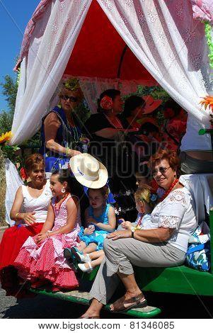 Spanish family in a caravan.