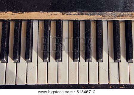Close Up Of Vintage Piano Keys  Piano