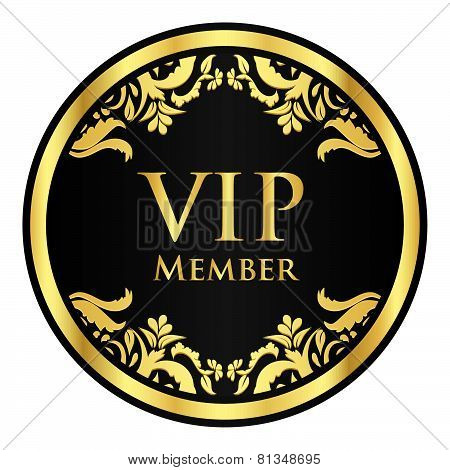 Black Vip Member Badge With Golden Vintage Pattern