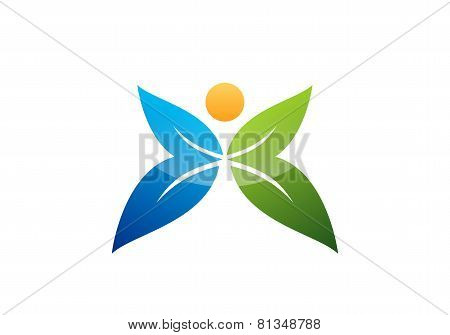 butterfly logo template design vector,wellness health people couple symbol