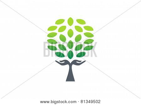 tree hand logo, tree nature wellness health symbol