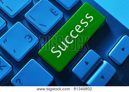 Close up of Success keyboard button
