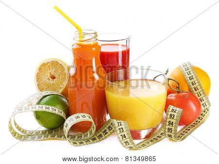 Dietary cocktail with fruits and centimeter isolated on white