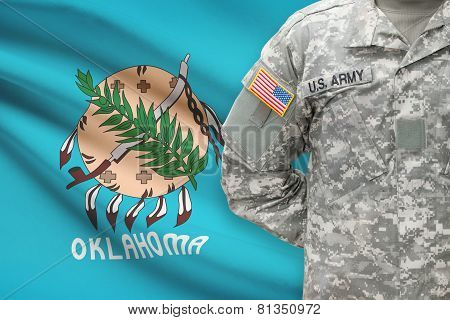 American Soldier With Us State Flag On Background - Oklahoma