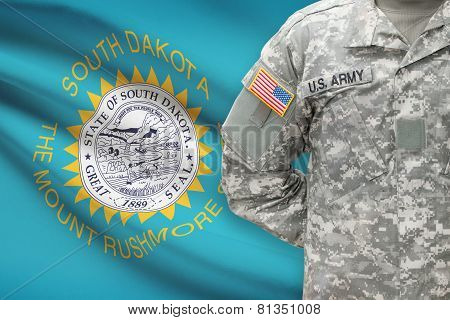 American Soldier With Us State Flag On Background - South Dakota