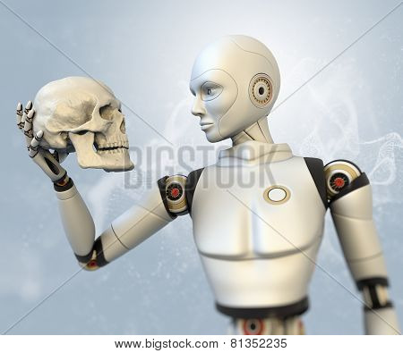 Cyborg With Human Skull In His Hand