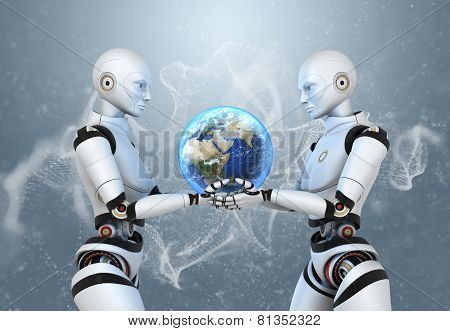 Two Cyborgs Holding The Earth In Their Hands