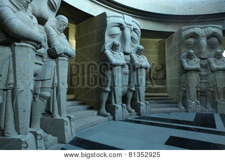 LEIPZIG, GERMANY - FEBRUARY 16, 2014: Guards of the Dead by German sculptor Franz Metzner seen in the crypt of the Monument to the Battle of the Nations (1813) in Leipzig, Germany.