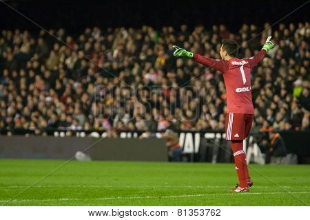 VALENCIA, SPAIN - JANUARY 25: Diego Alves during Spanish League match between Valencia CF and Sevilla FC at Mestalla Stadium on January 25, 2015 in Valencia, Spain
