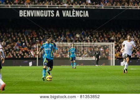 VALENCIA, SPAIN - JANUARY 25: Banega during Spanish League match between Valencia CF and Sevilla FC at Mestalla Stadium on January 25, 2015 in Valencia, Spain