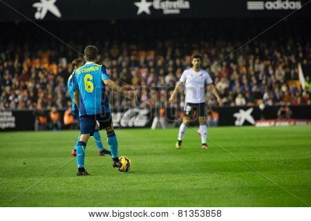 VALENCIA, SPAIN - JANUARY 25: Carrico with ball during Spanish League match between Valencia CF and Sevilla FC at Mestalla Stadium on January 25, 2015 in Valencia, Spain