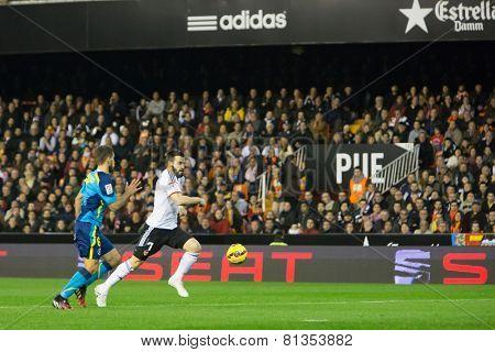 VALENCIA, SPAIN - JANUARY 25: Negredo in action during Spanish League match between Valencia CF and Sevilla FC at Mestalla Stadium on January 25, 2015 in Valencia, Spain
