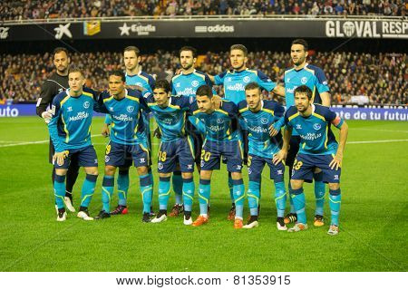VALENCIA, SPAIN - JANUARY 25: Sevilla team during Spanish League match between Valencia CF and Sevilla FC at Mestalla Stadium on January 25, 2015 in Valencia, Spain