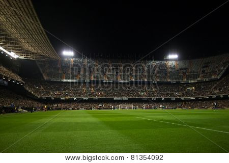 VALENCIA, SPAIN - JANUARY 25: Panorama of the stadium during Spanish League match between Valencia CF and Sevilla FC at Mestalla Stadium on January 25, 2015 in Valencia, Spain