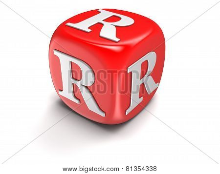 Dice with letter R (clipping path included)