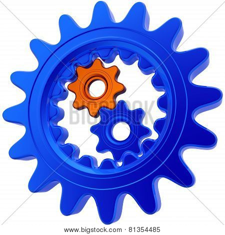 Two Small Gears Inside Of One Big Gear