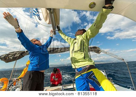HYDRA, GREECE - CIRCA OCT, 2014: Unidentified sailors participate in sailing regatta 12th Ellada Autumn 2014 among Greek island group in the Aegean Sea, in Cyclades and Argo-Saronic Gulf.