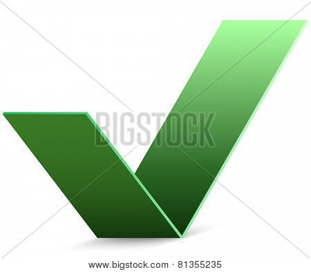 Abstract green paper check mark vector sign.