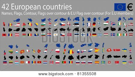 42 European  countries, A-Z Names,Flags,Contour,E.U Covered contour & National flags over contour