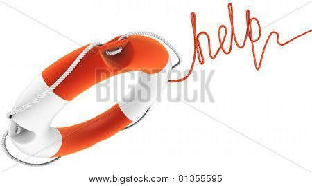 Ring Buoy With Rope As The Word Help