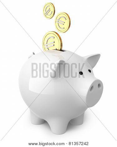 Piggy Bank With A 3 Euro Coins