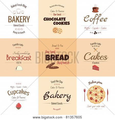 Set of 9 bakery labels