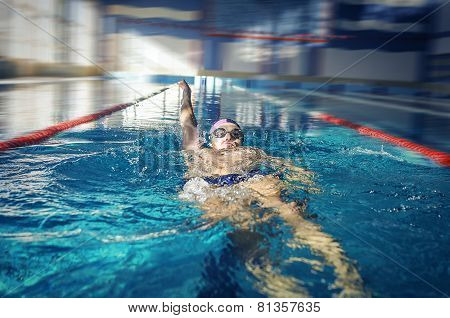 Swimmer Swimming Backstroke