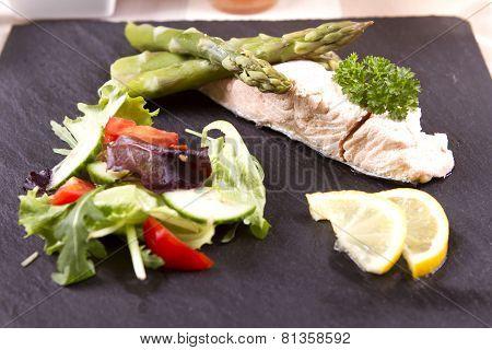Poached salmon slices
