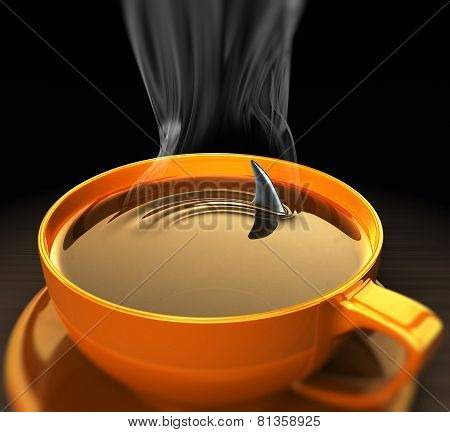 Shark Fin In Hot Coffee .concept