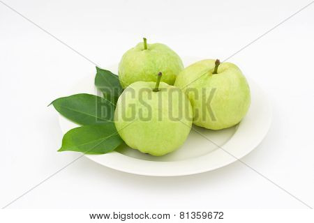 Group Of Guava With Leaf