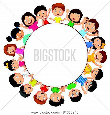 Crowd children cartoon with blank space
