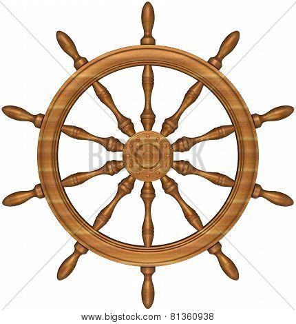Steering Wheel Of A Ship Sailing.