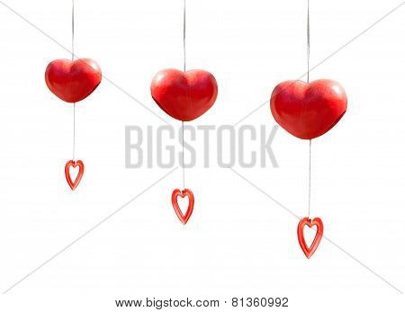 Red Heart Mobile Hanging Isolated On White  Background