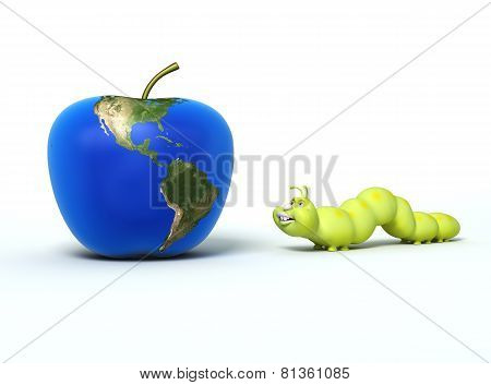 Worm And Apple With Earth Map