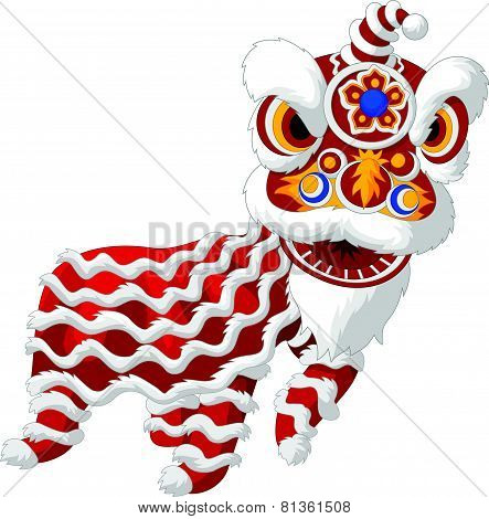 Cartoon Chinese lion dancing