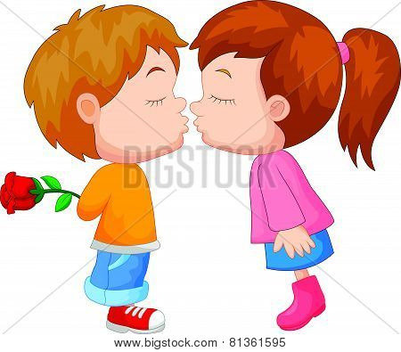 Cartoon boy and girl kissing