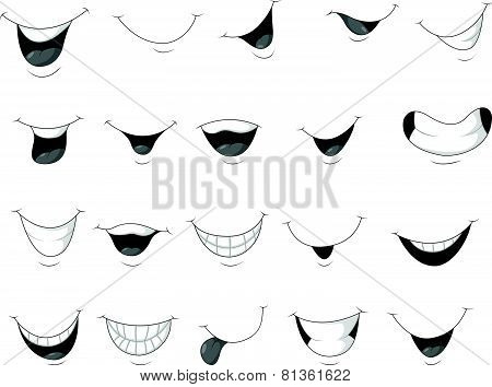 Set smiling mouth cartoon